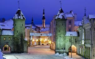 города, таллин , эстония, улица, снег, зима, башни