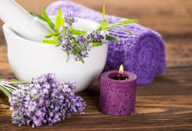 полотенце, свеча, лаванда, цветы