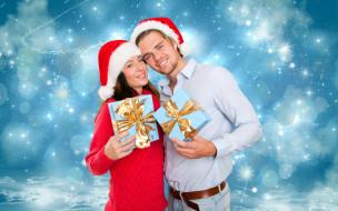 подарки, колпаки, праздник