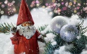 праздничные, дед мороз,  санта клаус, фигурка, шарики