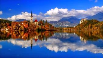 города, блед , словения, озеро, отражение, горы