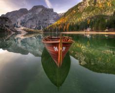 Озеро, Доломитовые Альпы, лодка, Брайес