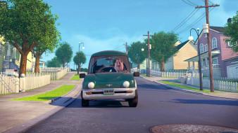 мужчина, дом, дорога, столб, машина