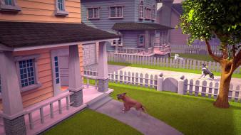 дерево, собака, дом, забор, растения