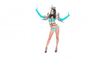 перчатки, белье, голубой, Алессандра Амброзио, модель, улыбка, каблуки, крылья, костюм