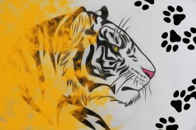 рисунок карандашом, рисунок, тигр, следы