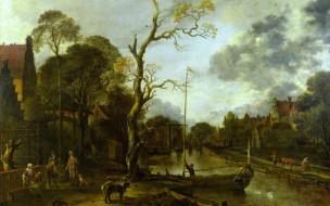 Вечерний Вид на Реку рядом с Деревней, дерево, пейзаж, Aert van der Neer, картина, Арт Ван дер Нер