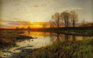природа, Закат над Водой, картина, Петер Мерк Менстед, Peder Mоrk Mоnsted, пейзаж
