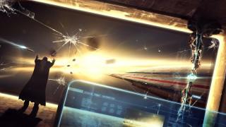 планшет, трещины, стекло, космос, человек, корабли