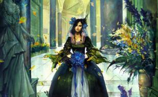 цветы, платье, девушка, колонны, статуя, дворец