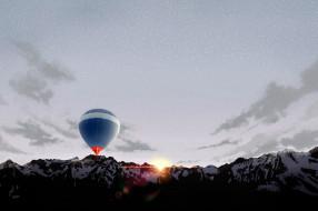 горы, рассвет, воздушный шар