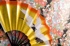веер, красноголовые японские журавли, цурукамэ, журавль, кимоно, beautiful background, стена, поверхность, текстура, орнамент, узор, японское искусство