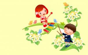 весна, мальчик, музыка, вектор, девочка, цветы, арт, птичка, тепло, настроение