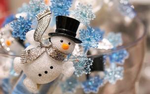 украшение, Новый год, декорация, Рождество, снежинки, снеговик