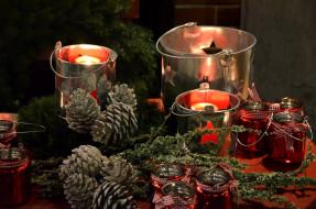 свечи, фонари, шишки
