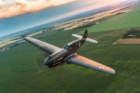 P-40, истребитель, полет, Warhawk