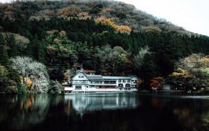 дом, озеро, лес, горы