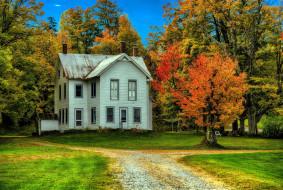 города, - здания,  дома, осень, деревья, дом