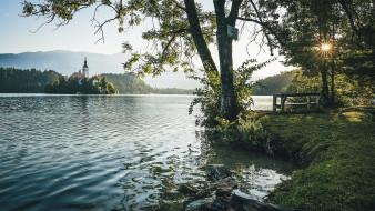 города, блед , словения, остров, озеро