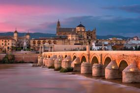города, - мосты, римский, мост, река, зарево, архитектура, дома, огни, небо, кордова, испания