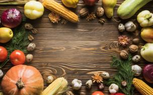 кукуруза, груша, чеснок