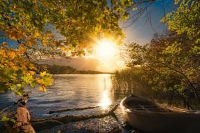 лодка, свет, осень, озеро, утро