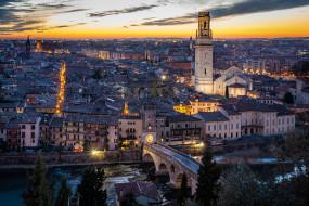 verona sunset, города, верона , италия, простор