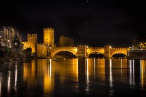 verona - castelvecchio bridge, города, верона , италия, простор