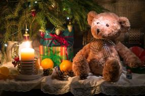 медведь, свеча, игрушка, апельсины