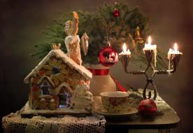 пряничный, домик, свечи, шарик