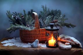 корзинка, ветки, еловые, свеча