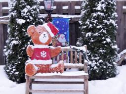 снег, медведь, скамейка