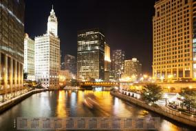 chicago, календари, города, небоскреб, 2018, водоем, освещение, здание