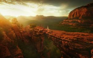 фэнтези, иные миры,  иные времена, мир, измерение, солнце, скалы, обрыв, девушка, долина, пространство