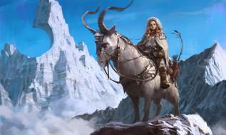 горы, снег, охотница, пик