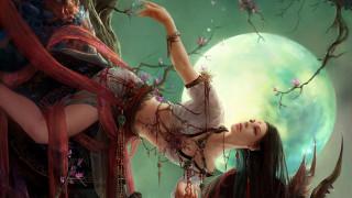 фэнтези, девушки, луна, украшения, дерево, девушка
