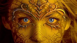 фэнтези, девушки, blue, eyes, gold, skin