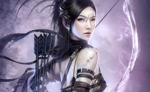 фэнтези, девушки, девушка, кровь, лук, стрелы, лучница