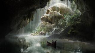 обои для рабочего стола 1920x1080 фэнтези, иные миры,  иные времена, quentin, mabille, fantasy, skull, cave, череп, лодка, путешествие, арт