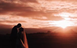 закат, девушка, невеста, парень, влюбленные, любовь, семья, фата, жених, двое