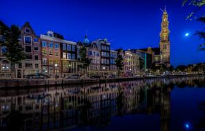 Netherlands, церковь, Нидерланды, Амстердам, набережная, канал, ночной город, Вестеркерк, отражение, Prinsengracht, Westerkerk, Amsterdam, здания, машины, авто