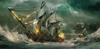 корабли, 3d, морской, бой, julian, calle, парусники, волны, море, фрегаты, молния, шторм