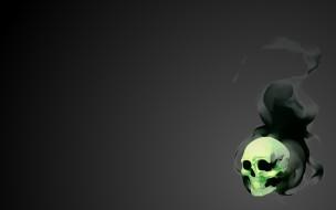 Череп, Дым, Фантастика, Minimalism, Зеленый, Gray, Smoke, Black, Soft, Light, Dirk, Мрачность, Арт, Плавный, Skull