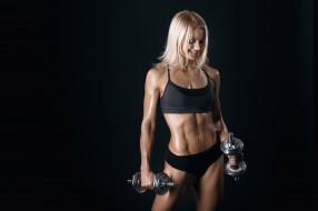 спорт, фитнес, вес, девушка, гантели, фигура, поза, упражнение, нагрузка