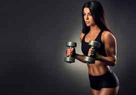 спорт, фитнес, вес, гантели, фигура, брюнетка, девушка, нагрузка, поза, упражнение