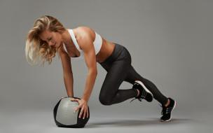 спорт, фитнес, поза, упражнение, мяч, шар, фигура, блондинка, девушка