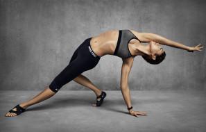 спорт, фитнес, поза, упражнение, фигура, девушка