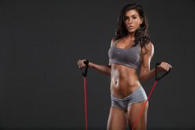 спорт, фитнес, брюнетка, девушка, нагрузка, прыгалки, фигура, поза, упражнение