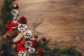 ветки ели, игрушки, праздник, новый год
