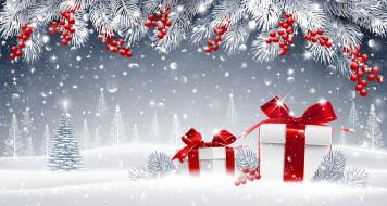 снег, ветки, ягоды, подарки